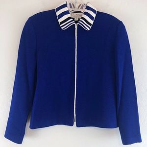 St John Santana Knit Cardigan Sweater Royal Blue 4